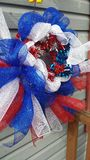 Red White and blue mesh wreath Stock Image