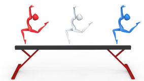 Red white and blue olympic gymnasts on balance beam. 3D Illustration Stock Photos