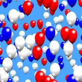 Red white blue party air balloons on sky. Seamless pattern Stock Photos