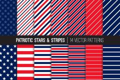 Red White Blue Patriotic Stars and Stripes Vector Seamless Patterns. July 4th Independence Day Backgrounds. Diagonal and Horizontal Striped Textures. Variable Stock Photo
