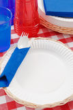 Red, White and Blue Picnic Table Setting Stock Photography