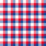 Red White Blue Plaid. Red white and blue gingham plaid seamless tile background emulates fabric. Hi res high quality details Royalty Free Stock Photography