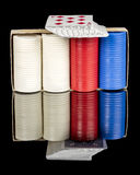 Red white and blue poker chips and cards Stock Image