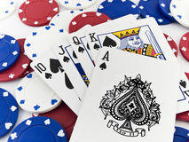 Red White and Blue Poker Chips and Royal Flush Royalty Free Stock Photography