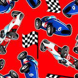 Red, white and blue racing cars seamless pattern.  Royalty Free Stock Image