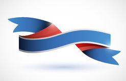 Red, white, blue ribbon illustration Stock Photo