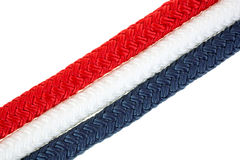 Red white and blue rope strands Stock Photos