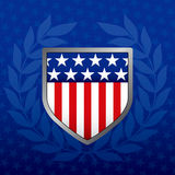 Red White and Blue Shield. On a Star Background Stock Images