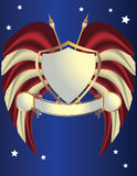 Red white and blue shield. Red white and gold shield on a blue background with stars Stock Photo