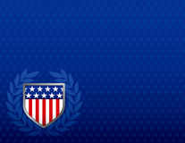 Red White and Blue Shield on a Star Background. With plenty of space for text Stock Photos