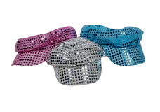 Red White and Blue Sparkle Disco Hats Stock Photography