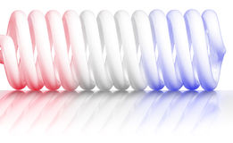 Red white and blue spiral. Red white and blue glass tube spiral with reflection Stock Images