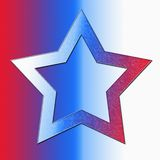 Red White Blue Star. On red white blue background Vector Illustration