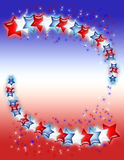 Red, White and Blue Stars. Red, white and blue glowing stars and sparkles on a red, white and blue gradient background royalty free illustration