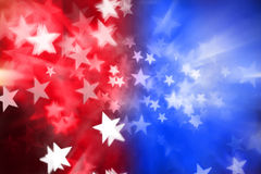 Red White Blue Stars Abstract Background. An abstract patriotic american background with red white and blue colors and stars stock photos
