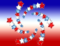Red, White and Blue Stars Background. Red, white and blue glowing stars on a red, white and blue gradient background vector illustration