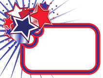 Red, White and Blue Stars Banner on White BKGD Stock Photos