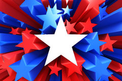 Red, white and blue stars. 3D render royalty free illustration