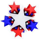 Red, white and blue stars. 3d render Stock Image