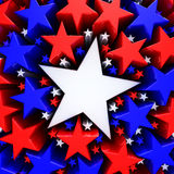 Red, white and blue stars. 3d render Stock Photo