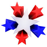 Red, white and blue stars. 3D render Royalty Free Stock Image