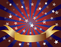 Red White and Blue Stars Sun Rays and Banner Royalty Free Stock Photos
