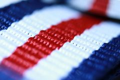 Red white and blue striped thread Royalty Free Stock Photo