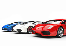 Red White and Blue Supercars Stock Photography