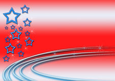Red, White and Blue Template. A red background template with blue stars and sparkles vector illustration