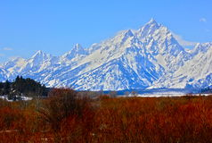 Red White and Blue Tetons. Grand Teton National park, couldn't be much more patriotic Royalty Free Stock Photo