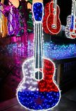 Texas Flag Guitar Lit up with Lights royalty free stock photography