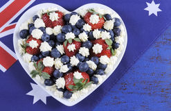 Red, white and blue theme berries with fresh whipped cream stars with Australian flag. Royalty Free Stock Photography