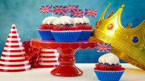 Red white and blue theme cupcakes and crown with UK Union Jack flags Stock Photography