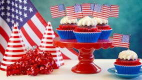 Red white and blue theme cupcakes with USA flags Stock Photography