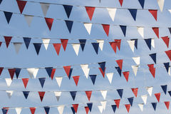 Red white and blue triangular bunting Stock Photo