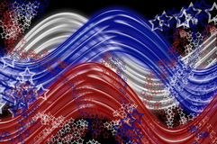 Red, White and Blue Wavy Lines andStars Royalty Free Stock Images