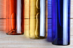 Red White Blue Wine Bottles Royalty Free Stock Images