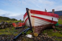 Red and white boats on beach Royalty Free Stock Images
