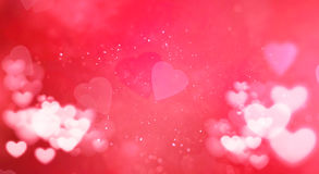 Red and white bokeh heart on pink hearts shape background with particles sparkle glitter, valentine day love holiday. Event festive vector illustration