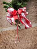 Red white bow Christmas Market Royalty Free Stock Images