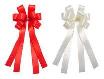 Red and white bow tale glossy ribbon, christmas, reward, prize,. Award concept icon or symbol decorations, isolation on white background with clipping path Royalty Free Stock Image