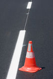 Red white brindled traffic cones Stock Photo