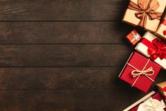 Red, White, and Brown Gift Boxes royalty free stock photos