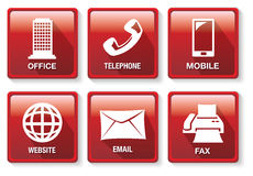 Red and White Business Contact Method Vector Icon Button Set Stock Photos
