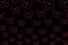 Colorful butterflies on a black background. Isolated butterflies. Template, blank, bright, colorful. stock illustration