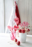 Red and white cake pops with decorations for Valentine's Day Stock Photography