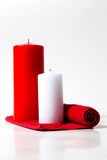 Red and white candle on Stock Image
