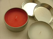 Red and white candles. Out of the box Stock Photo