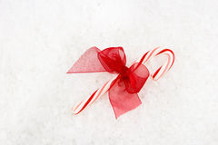 Red & White Candy Cane with Red Bow Stock Photos