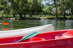Red and White Canoe / Kayak with Green Paddle on River in Woods Stock Images